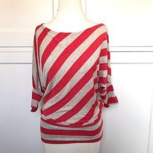 Tan and Orange Stripe Blouson Knit Top Small